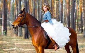 Picture the sun, trees, nature, horse, horse, boots, makeup, dress, hairstyle, brown hair, beauty, sitting, the …