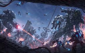 Picture fiction, war, tower, robots, art, destruction, laser, Sci-Fi
