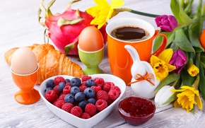 Picture Coffee, Eggs, Cup, Food, Raspberry, Breakfast, Daffodils, Blueberries, Jam, Croissant