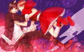 Picture girl, wolf, art, guy, Red Riding Hood, Little red riding hood, Big Bad Wolf
