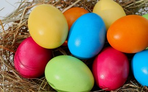 Picture eggs, Easter, hay, colorful, eggs