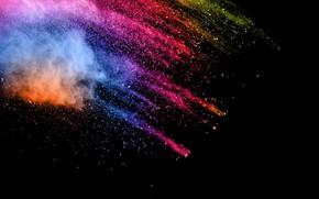 Picture color, black background, powder