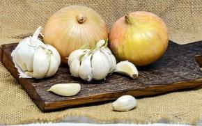 Picture bow, Board, burlap, garlic