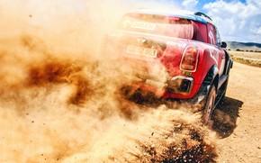 Wallpaper Sand, Auto, Mini, Dust, Sport, Machine, Speed, Stones, Race, Skid, Rally, SUV, Rally, X-Raid Team, ...