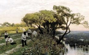 Picture field, trees, landscape, river, picture, genre, Mowers, Vladimir Orlovsky