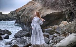 Picture sea, girl, pose, stones, dress, Dmitry Levykin, Maria Martyanova