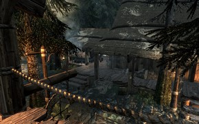 Picture road, trees, spruce, ate, road, trees, tree, skyrim, blacksmith, fir-tree, forge, elder scrolls, tes 5, …
