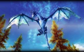 Picture The sky, Nature, Clouds, Dragon, Monster, Art, Skyrim, The Elder Scrolls, Skyrim