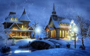 Picture winter, snow, night, bridge, home, lights, Thomas Kinkade