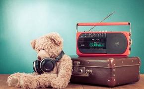 Picture Headphones, Bear, Suitcase, Teddy bear, Radio, Radio