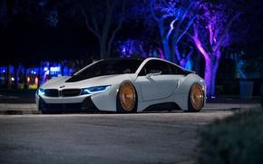 Picture car, BMW, logo, supercar, neon, vegetation, technology, BMW I8