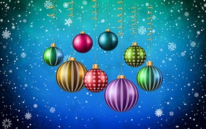 Picture Minimalism, Snow, New Year, Christmas, Balls, Snowflakes, Background, Decoration, Holiday, Mood