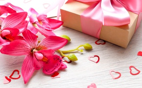 Picture flowers, gift, tape, hearts, love, pink, flowers, romantic, hearts, sweet, gift, valentine`s day