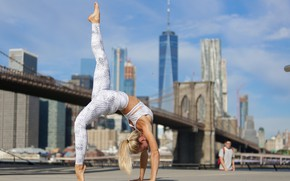 Picture summer, girl, background, flexibility, yoga, legs, Beatrice