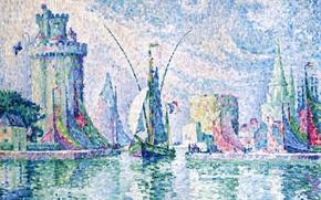 Picture landscape, boat, picture, sail, Paul Signac, pointillism, La Rochelle. Green Tower