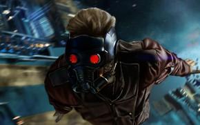 Wallpaper poster, Peter Quill, Star-Lord, Guardians Of The Galaxy. Part 2, flight, Chris Pratt, art, Chris ...