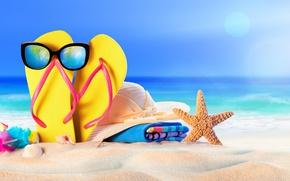 Picture sand, sea, beach, the sun, hat, glasses, summer, beach, sand, slates, vacation
