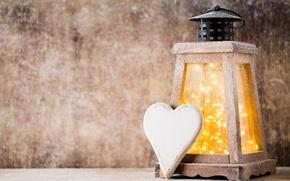 Wallpaper heart, New Year, Christmas, lantern, heart, winter, snow, merry christmas, lantern