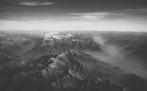 Picture black & white, snow, mounatins, snow peaks