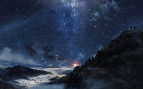 Picture clouds, mountains, night, fog, people, Stars, art