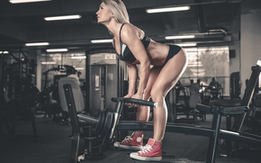 Picture blonde, pose, workout, fitness