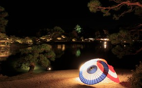 Picture trees, night, lights, pond, Japan, garden, lights, umbrellas, Okayama