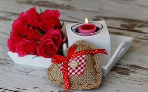 Picture love, flowers, roses, candle, bouquet, hearts, red, red, love, wood, flowers, romantic, hearts, Valentine's Day, …