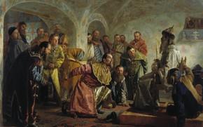 Picture oil, king, knife, Canvas, bow, jester, Nikolai NEVREV, The guardsmen