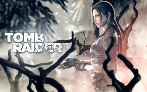 Picture girl, branches, gloves, lara croft, tomb raider, rendering