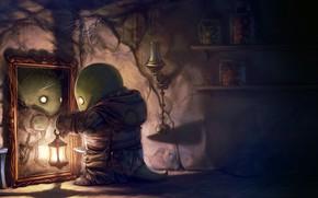 Picture game, cat, lantern, lamp, tonberry, broken mirror, cobwebs, monster, fantasy, artwork, digital art, jars, Final ...