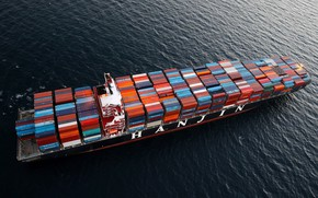 Picture The ocean, Sea, Top, A container ship, Container, Shipping, Hanjin, Hanjin Shipping