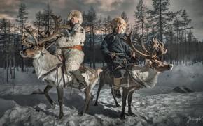 Wallpaper snow, people, deer