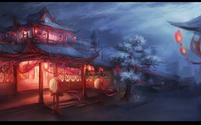 Wallpaper the red lanterns, wooden houses, flowering, Japan, street, night, Sakura, the light in the Windows, ...