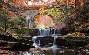 Wallpaper cascade, stones, autumn, trees, river, bridge, water