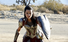Picture wallpaper, girl, armor, woman, man, Marvel, fight, series, brunette, supernatural, hero, Thor, shield, warrior, angry, ...