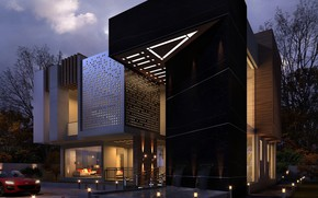 Picture design, lighting, structure, MODERN VILLA, NIGHT SCENE