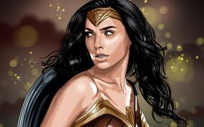 Wallpaper cinema, film, armor, Diana, shield, movie, Wonder Woman, artwork, Gal Gadot