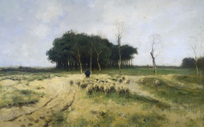 Picture oil, picture, canvas, Anton Mauve, Moorland Larena