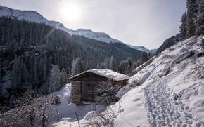 Wallpaper winter, mountains, house