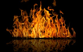 Wallpaper fire, fire, black, reflection, flame, background, reflection, flame