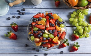 Picture berries, strawberry, grapes, fruit, blueberries, Mandarin