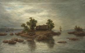 Picture oil, Canvas, The farm on the island, Lev LAGORIO