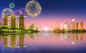 Wallpaper megapolis, skyscrapers, architecture, blue, salute, lights, sea, lights, fountains, night, Singapore, landscape