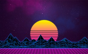 Picture Graphics, Neon, The sky, The sun, Mountains, Space, Stars, Music, 80's, Synth-pop, Sinti, Synth, Synthpop