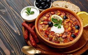 Picture lemon, soup, olives, sour cream, sausages