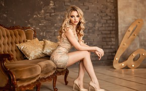 Picture pose, model, pillow, makeup, figure, dress, hairstyle, blonde, shoes, legs, beauty, sitting, on the couch, …