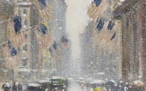 Picture picture, the urban landscape, Guy Carleton Wiggins, Guy Wiggins, Blizzard on 5th Avenue in the …