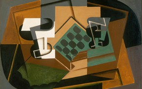 Picture 1917, Juan Gris, Chess Board, the glass and dish