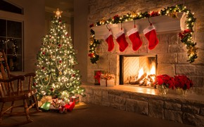 Picture comfort, style, room, holiday, tree, new year, decor