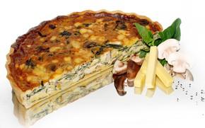 Picture mushrooms, cheese, pie